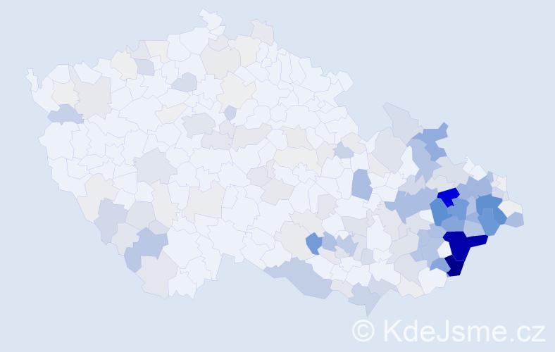 Příjmení: 'Juřica', počet výskytů 834 v celé ČR