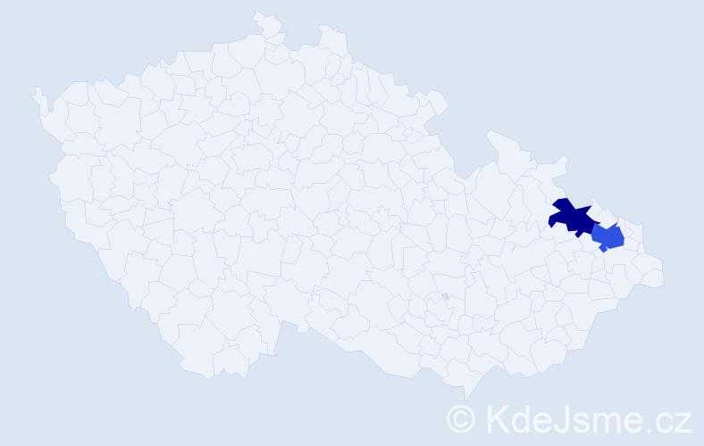 Příjmení: 'Chadzipanajotidis', počet výskytů 5 v celé ČR
