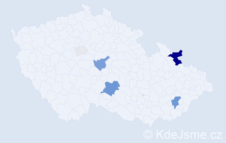 Příjmení: 'Háj', počet výskytů 9 v celé ČR