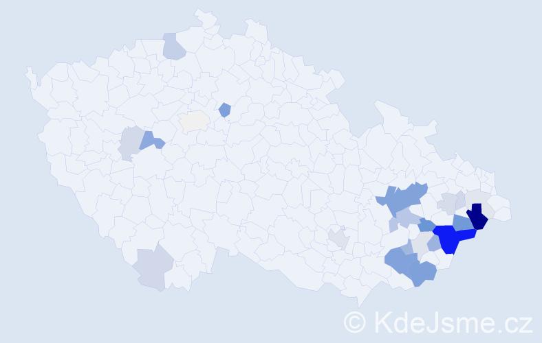 Příjmení: 'Čaník', počet výskytů 76 v celé ČR