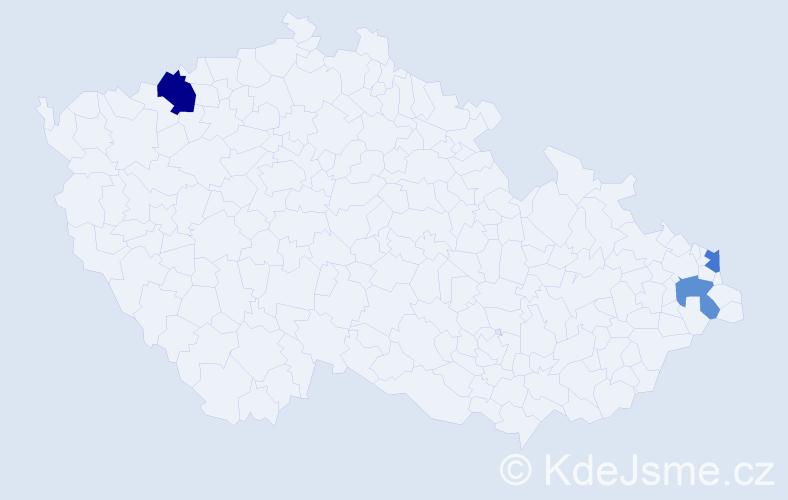 Příjmení: 'Knab', počet výskytů 4 v celé ČR