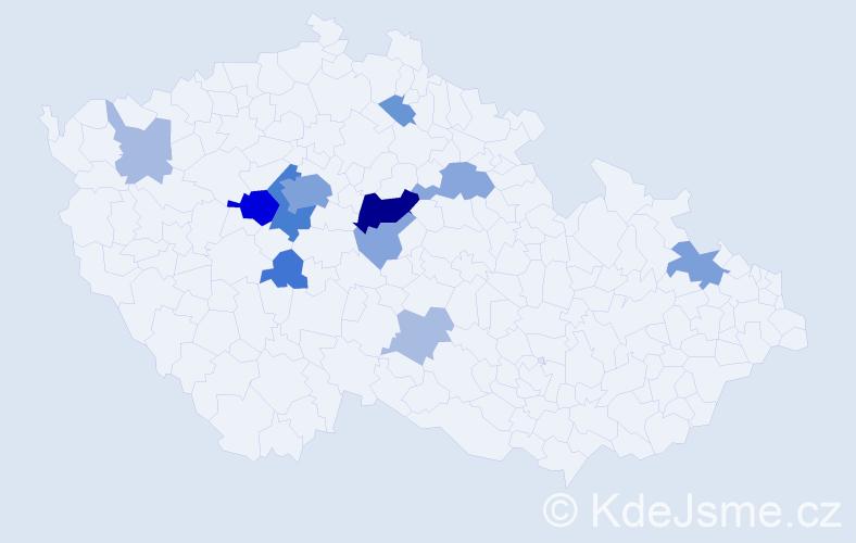 Příjmení: 'Horelová', počet výskytů 38 v celé ČR