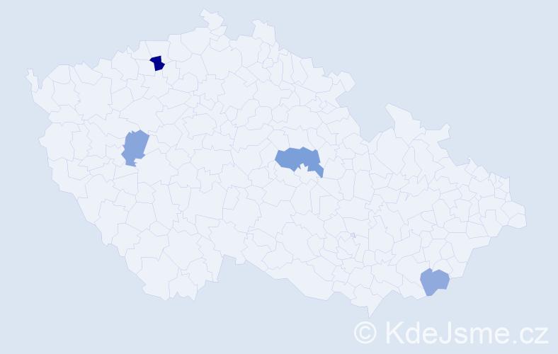 Příjmení: 'Karvajová', počet výskytů 6 v celé ČR