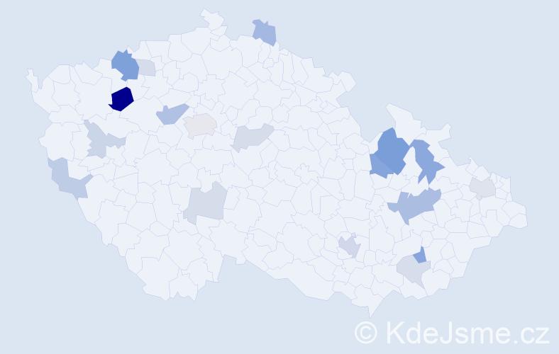 Příjmení: 'Borik', počet výskytů 44 v celé ČR