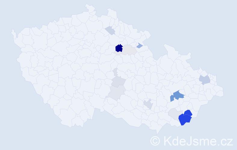 Příjmení: 'Ďurďa', počet výskytů 55 v celé ČR