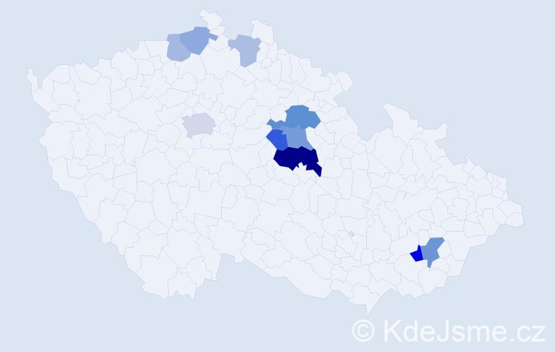 Příjmení: 'Ligr', počet výskytů 21 v celé ČR