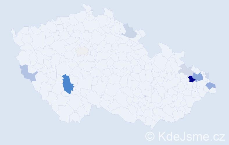 Příjmení: 'Čišecká', počet výskytů 25 v celé ČR