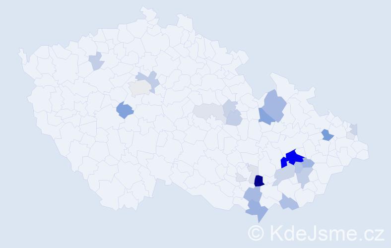Příjmení: 'Cagášková', počet výskytů 73 v celé ČR