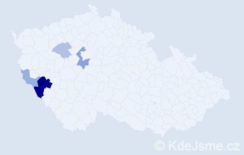 Příjmení: 'Idlbeková', počet výskytů 12 v celé ČR