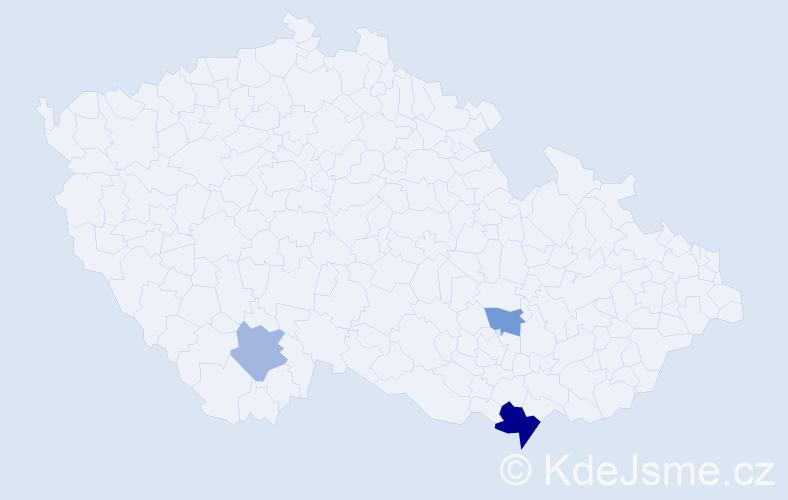 Příjmení: 'Brantalíková', počet výskytů 16 v celé ČR