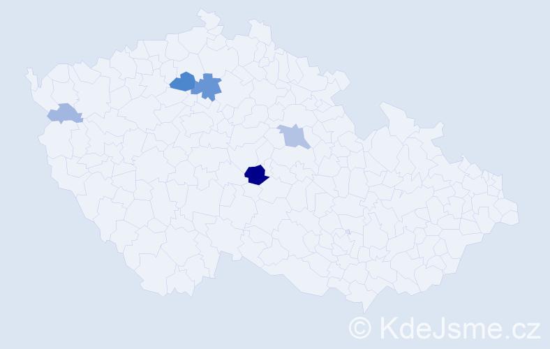 Příjmení: 'Čmedla', počet výskytů 17 v celé ČR