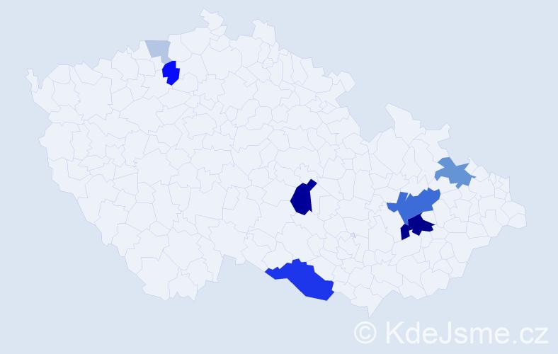Příjmení: 'Kapaňová', počet výskytů 28 v celé ČR