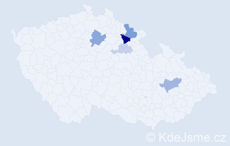 Příjmení: 'Halenárová', počet výskytů 10 v celé ČR