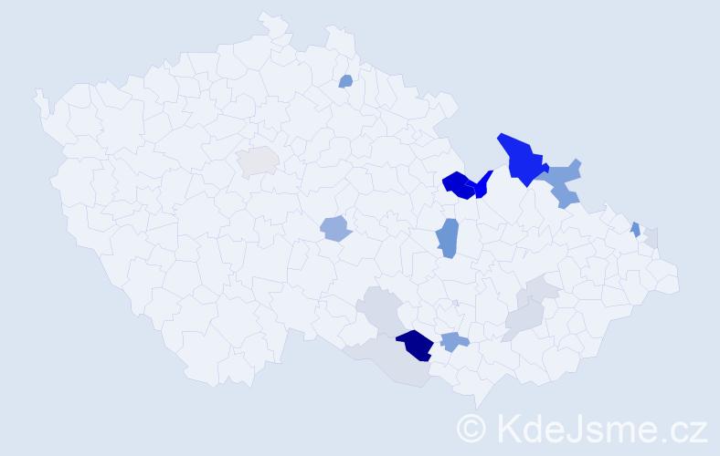 Příjmení: 'Klohna', počet výskytů 45 v celé ČR