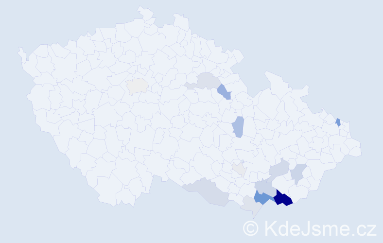 Příjmení: 'Chudíček', počet výskytů 53 v celé ČR