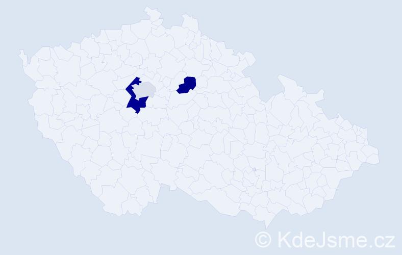 Příjmení: 'Denigerová', počet výskytů 5 v celé ČR