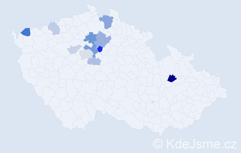 Příjmení: 'Bolardová', počet výskytů 23 v celé ČR
