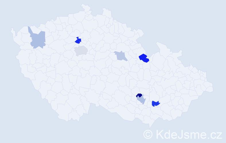 Příjmení: 'Bakič', počet výskytů 15 v celé ČR
