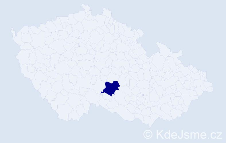 """Příjmení: '""""Čápová Mikešová""""', počet výskytů 1 v celé ČR"""