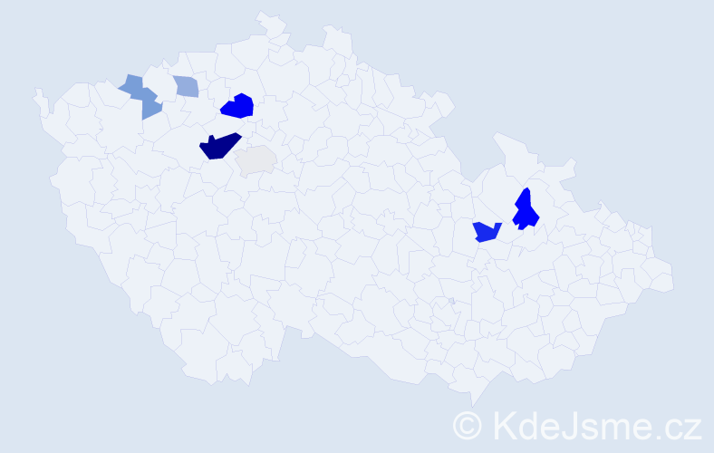 Příjmení: 'Bakalárová', počet výskytů 14 v celé ČR