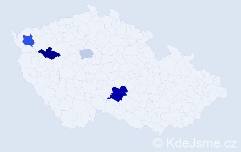 Příjmení: 'Černo', počet výskytů 19 v celé ČR