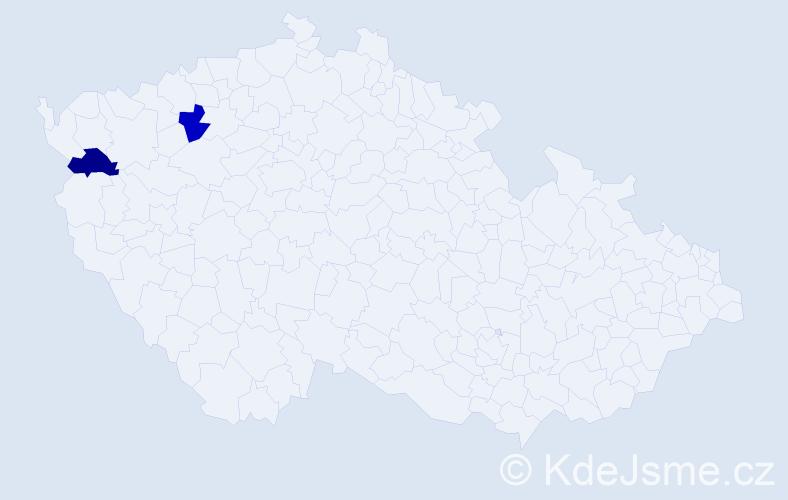 Příjmení: 'Čarnegová', počet výskytů 2 v celé ČR