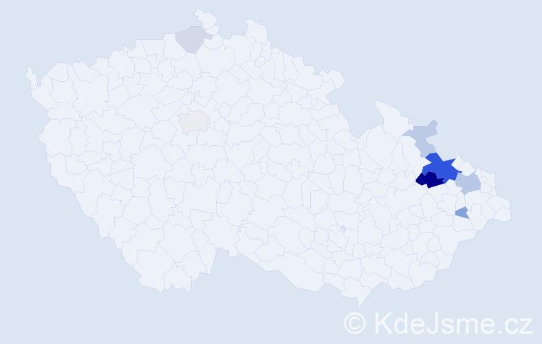 Příjmení: 'Havlický', počet výskytů 24 v celé ČR