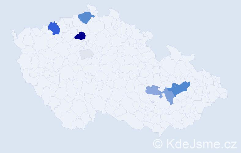 Příjmení: 'Kikalová', počet výskytů 20 v celé ČR