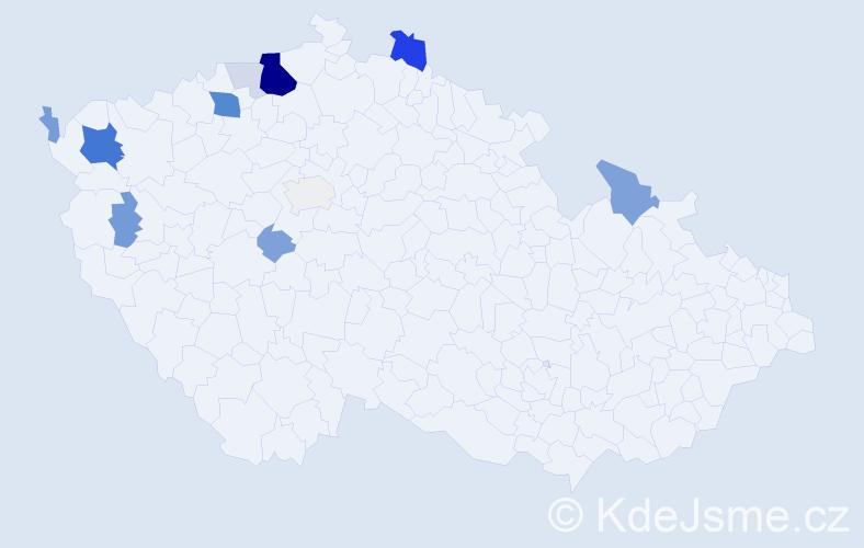 Příjmení: 'Čikošová', počet výskytů 40 v celé ČR