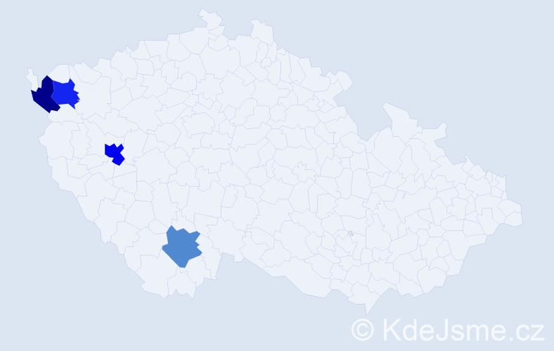 Příjmení: 'Deisinger', počet výskytů 5 v celé ČR