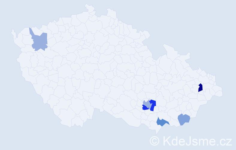 Příjmení: 'Čanky', počet výskytů 13 v celé ČR
