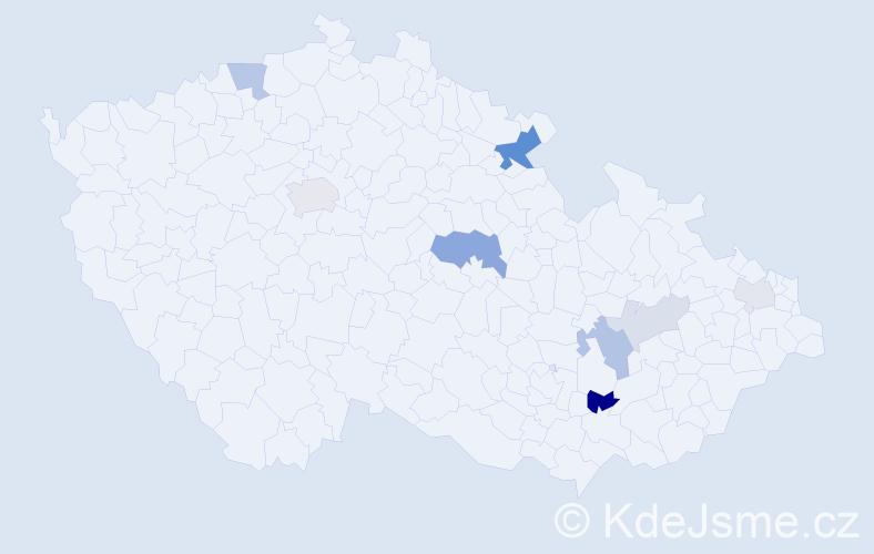 Příjmení: 'Dragan', počet výskytů 20 v celé ČR