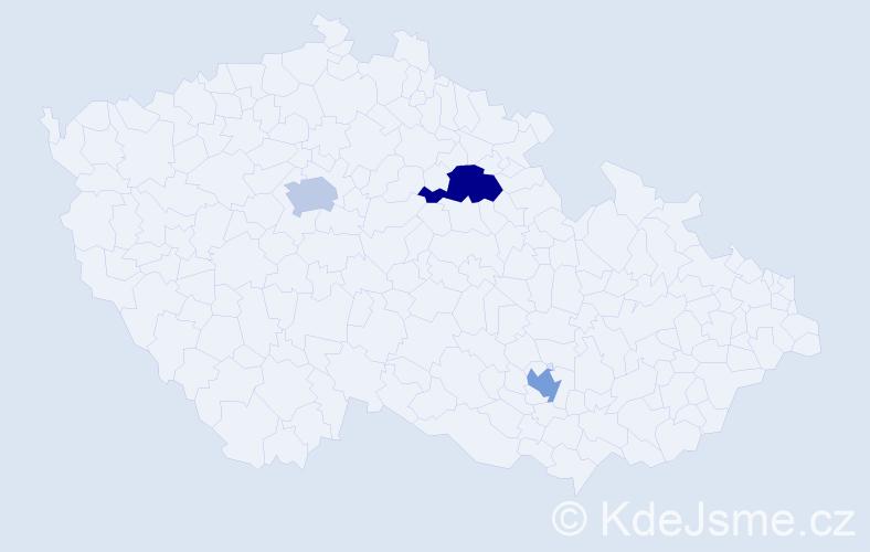 """Příjmení: '""""De Carvalho""""', počet výskytů 7 v celé ČR"""