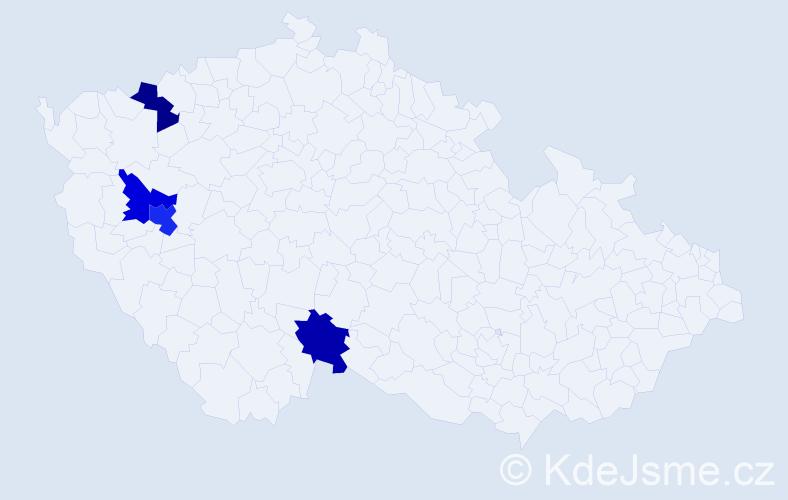 Příjmení: 'Lálo', počet výskytů 5 v celé ČR