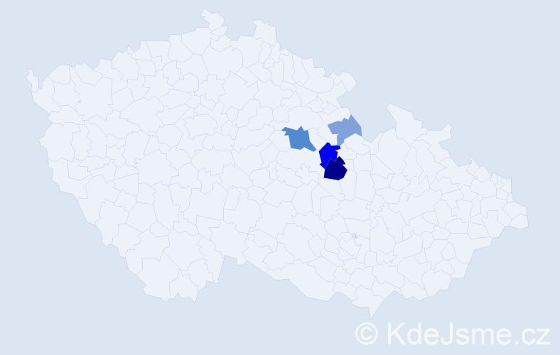 Příjmení: 'Hebek', počet výskytů 12 v celé ČR