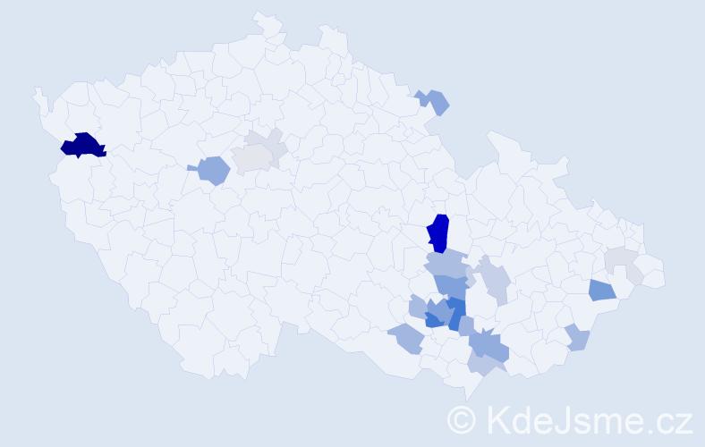 Příjmení: 'Kalod', počet výskytů 71 v celé ČR