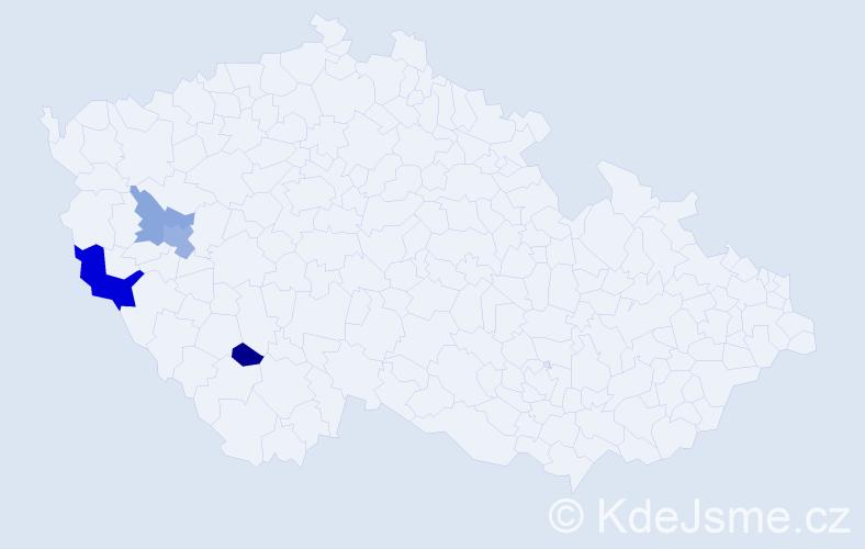 Příjmení: 'Končaba', počet výskytů 7 v celé ČR