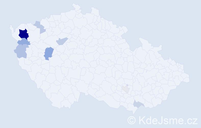 Příjmení: 'Koco', počet výskytů 24 v celé ČR