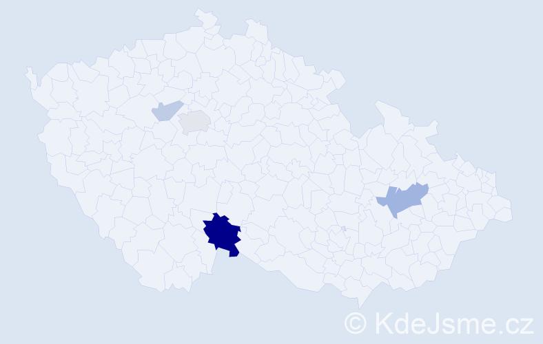 Příjmení: 'Hadnagyová', počet výskytů 10 v celé ČR