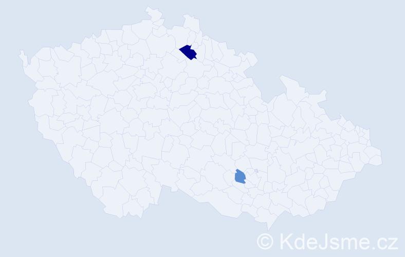 Příjmení: 'Lemak', počet výskytů 4 v celé ČR