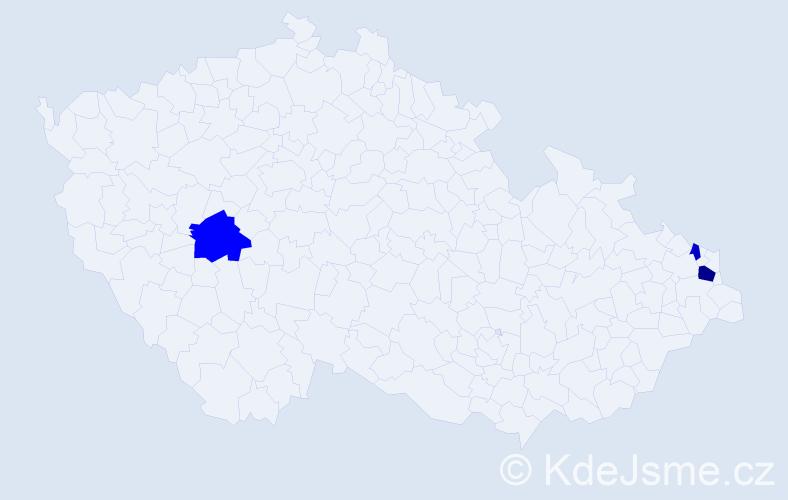 Příjmení: 'Kuldanek', počet výskytů 6 v celé ČR