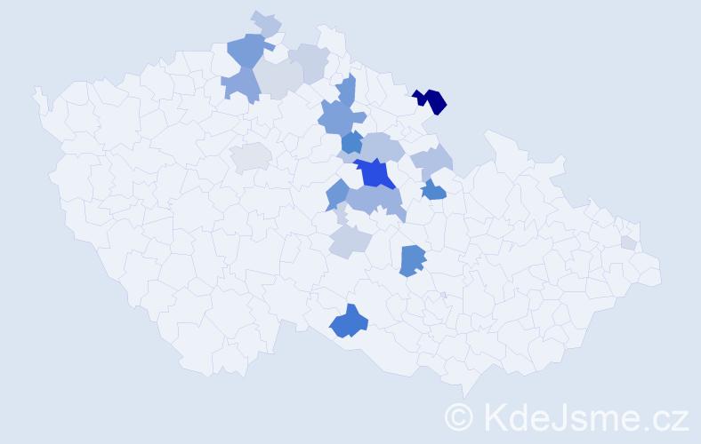 Příjmení: 'Dařbujanová', počet výskytů 61 v celé ČR