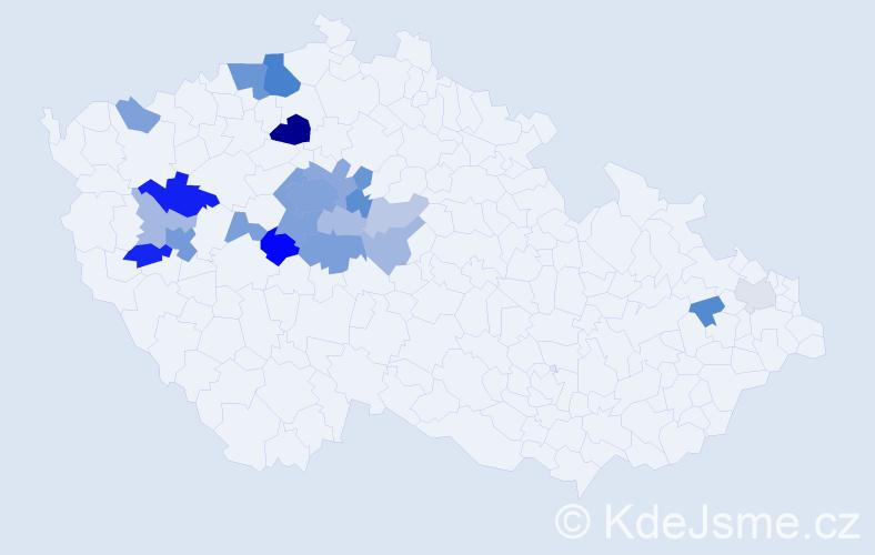 Příjmení: 'Kolenatý', počet výskytů 63 v celé ČR