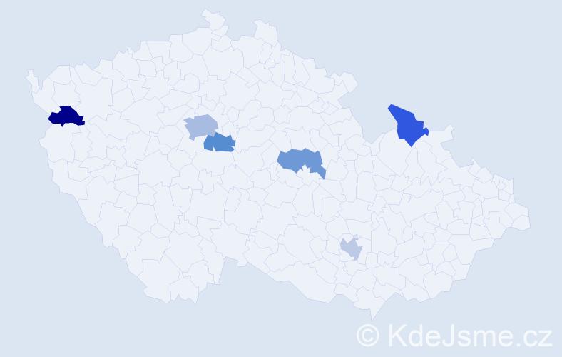 Příjmení: 'Hurst', počet výskytů 9 v celé ČR