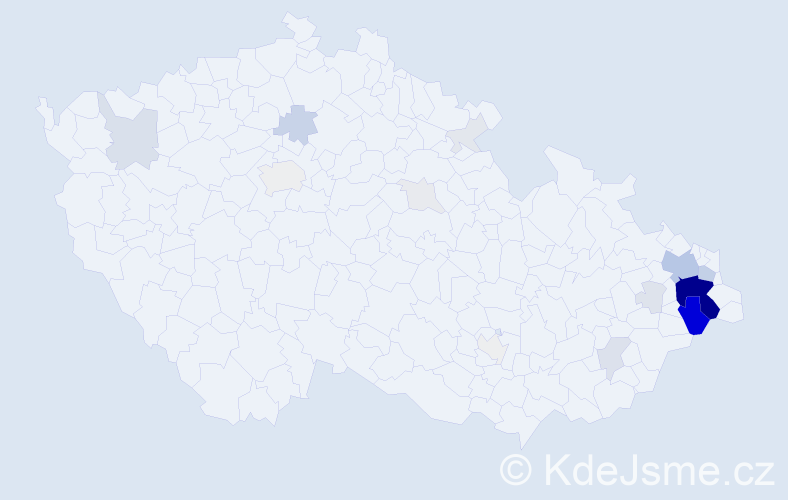 Příjmení: 'Lepík', počet výskytů 88 v celé ČR