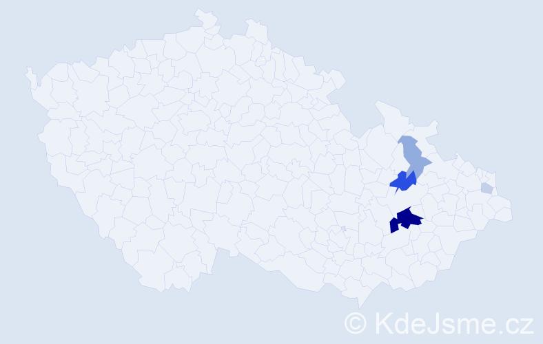 Příjmení: 'Čiderová', počet výskytů 14 v celé ČR