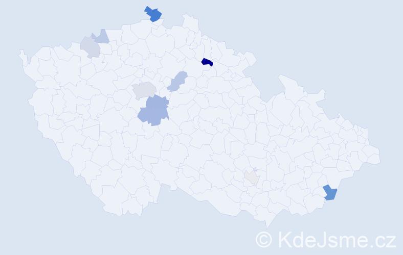 Příjmení: 'George', počet výskytů 23 v celé ČR