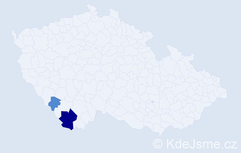 Příjmení: 'Čertický', počet výskytů 6 v celé ČR