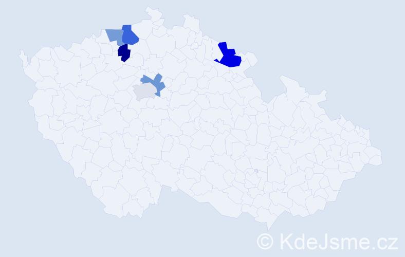 Příjmení: 'Lendvay', počet výskytů 8 v celé ČR