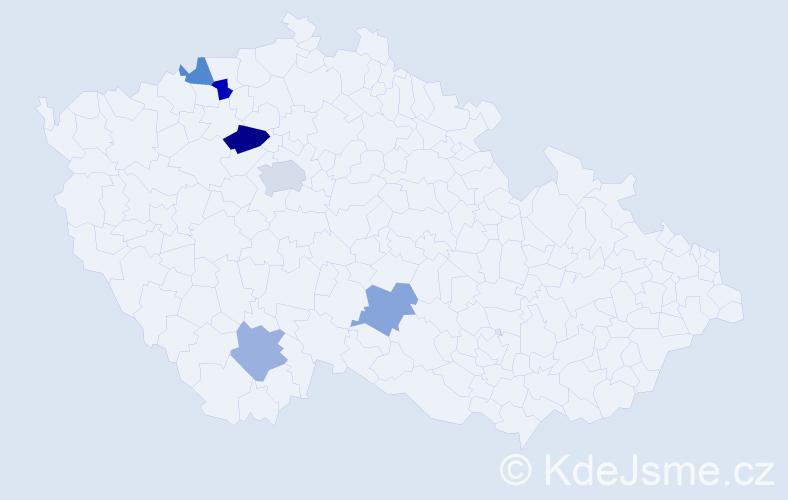 Příjmení: 'Enická', počet výskytů 8 v celé ČR